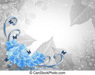 Rosas azules diseño de esquina