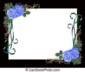 Rosas azules marco negro