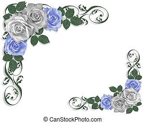 Rosas azules y blancas frontera nupcial