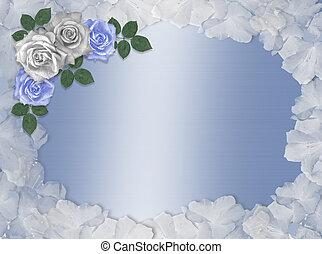 Rosas azules y blancas fronteras nupciales