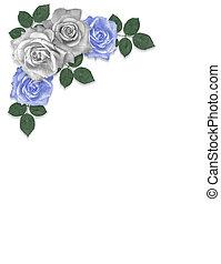 Rosas azules y blancas