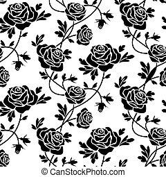 rosas, blanco, negro