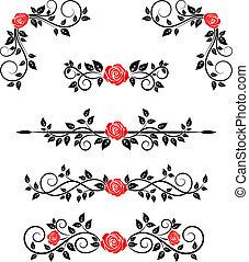 Rosas con adornos florales