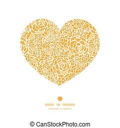 Rosas de encaje dorado Vector de color rosa corazón silueta marco de dibujo