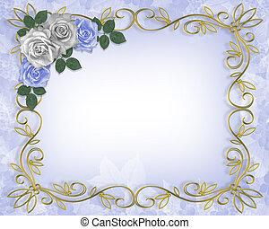 Rosas de la frontera de la boda azul