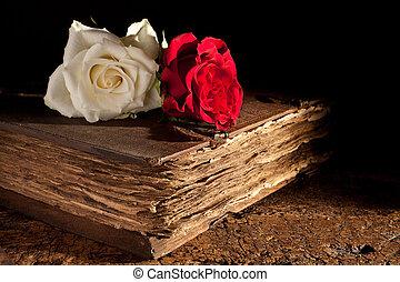 Rosas frescas en el viejo libro