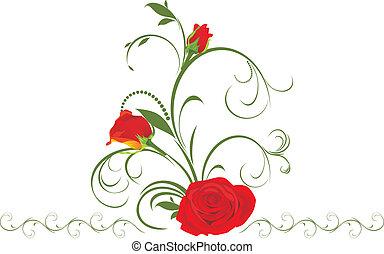 Rosas rojas con adornos florales