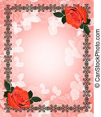 Rosas rojas invitaciones de boda