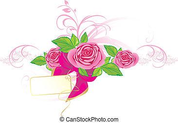 Rosas rosas con adorno y arco