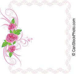 Rosas rosas con adornos. Frame