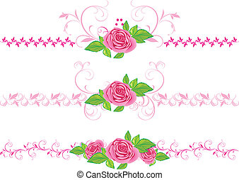 Rosas rosas con adornos