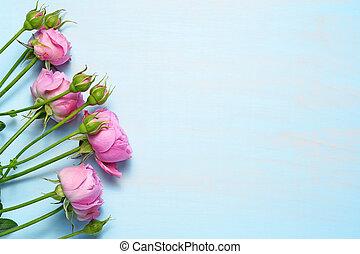 Rosas rosas en el fondo azul