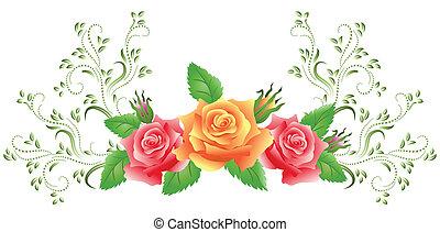 Rosas rosas y amarillas