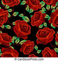 Rosas sobre el patrón negro