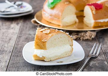 """""""roscon, de madera, reyes"""", de, epifanía, plano de fondo, español, pastel, típico"""