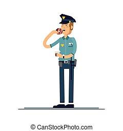 rosquilla, conjunto, seguridad, blanco, posición, aislado, público, oficial, uniforme, vector, macho, character., ilustración, fondo., caracteres, comida, policía