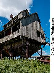 rostov, viejo, grano, región, abandonado, elevador, rusia