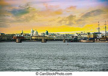 rostral, russia., petersburg., island., columnas, vasilievsky, santo, saliva