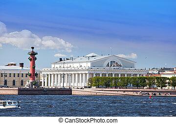 rostral, vasilevsky, russia., petersburg., isla, columns., flecha