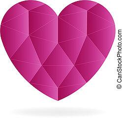 Rubí corazón gema, bajo vector logotipo