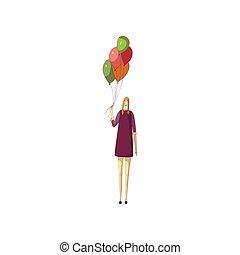 Rubia con un vestido púrpura con globos coloridos. Ilustración de vectores sobre fondo blanco.