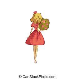Rubia con un vestido rojo con un ramo. Ilustración de vectores sobre fondo blanco.