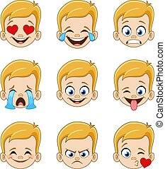 rubio, cara azul, niño, ojos, expresiones, emoji