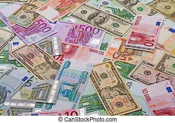 rubles, dólares, plano de fondo, euros