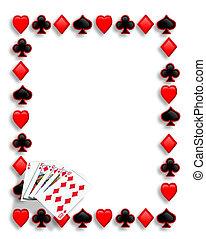 rubor, juego, frontera, tarjetas, real, póker