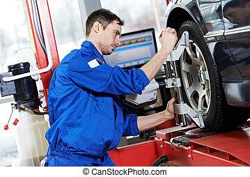 rueda, automóvil, trabajo, mecánico, llave inglesa, alineación