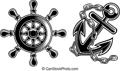rueda, barco, entrepuente, ancla