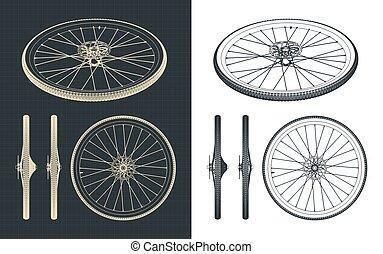 rueda, bicicleta, camino, planos