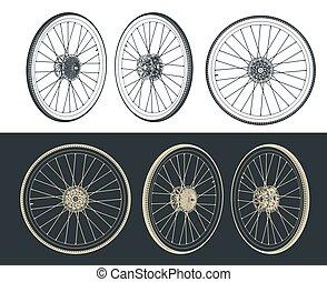 rueda, bicicleta, dibujos, camino