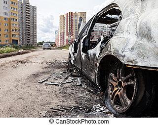 rueda, chatarra, incendio malicioso, fuego, coche, vehículo, quemado