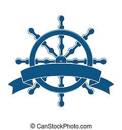 Rueda con estandarte. Un emblema náutico. Vector
