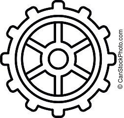 rueda, contorno, icono, estilo, diente, reloj