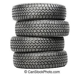 rueda, cuatro, invierno, coche, aislado, neumáticos, pila