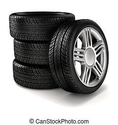 rueda de aleación, 3d, neumático