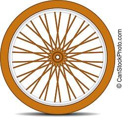 Rueda de bicicleta de madera con sombra