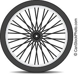 Rueda de bicicleta en diseño negro con sombra