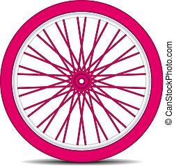 Rueda de bicicleta en diseño rosa con sombra