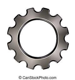 rueda, engranaje, -, metal, ilustración, plano de fondo, blanco, 3d