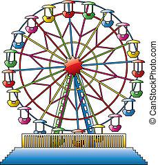 rueda, ferris, vector, ilustración, colorido