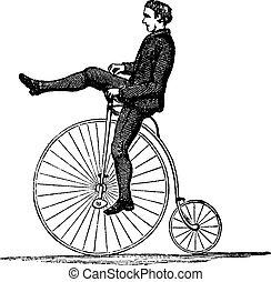 rueda, grabado, vendimia, bicicleta, alto, penny-farthing, o