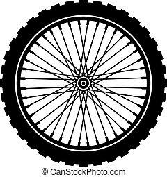 rueda, negro, bicicleta, silueta, vector