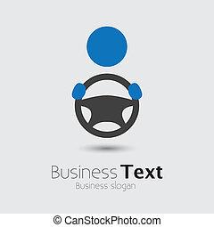 rueda, o, el suyo, taxista, coche, empresa / negocio, espacio, texto, graphic., vehículo, conductor, symbol-, mano, vector, ilustración, tenencia, automóvil, lema, icono, entrepuente, exposiciones