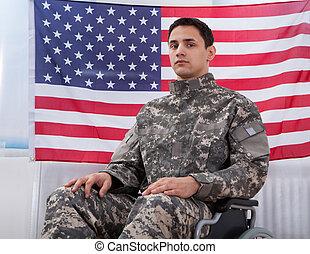 rueda, sentado, norteamericano, contra, soldado, bandera, patriótico, silla