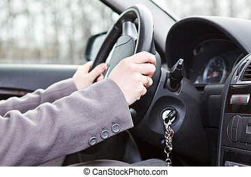 rueda, tierra, manos, hembra, vehículo, entrepuente