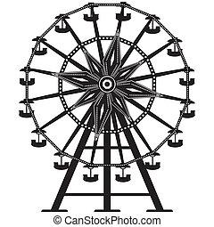 rueda, vector, silueta, ferris