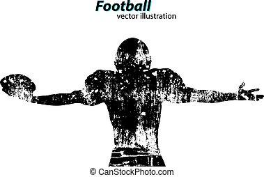 rugby., player., silueta, futbolista, fútbol americano